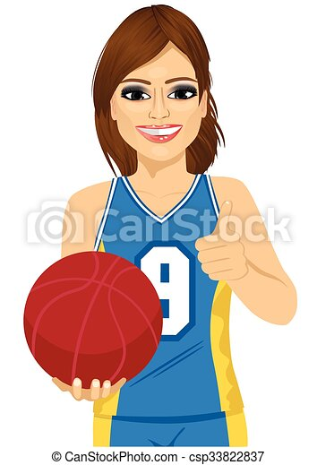 female basketball player holding ball and showing thumbs up - csp33822837