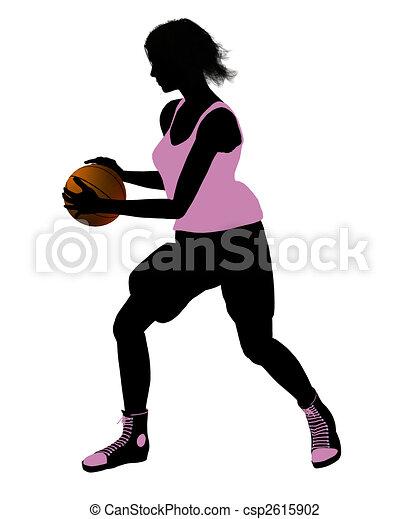 Female Basketball Player Illustration Silhouette - csp2615902