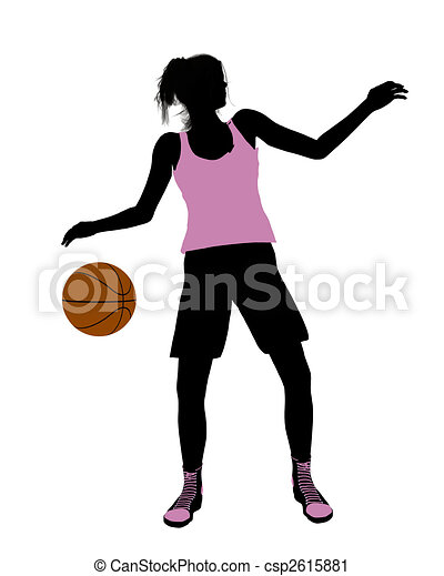Female Basketball Player Illustration Silhouette - csp2615881