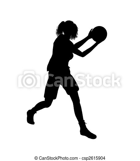Female Basketball Player Illustration Silhouette - csp2615904