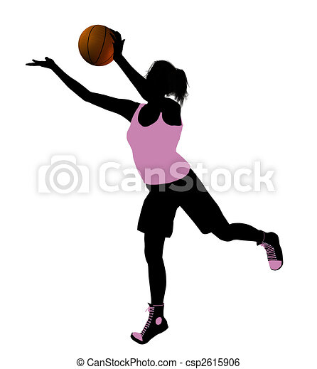 Female Basketball Player Illustration Silhouette - csp2615906