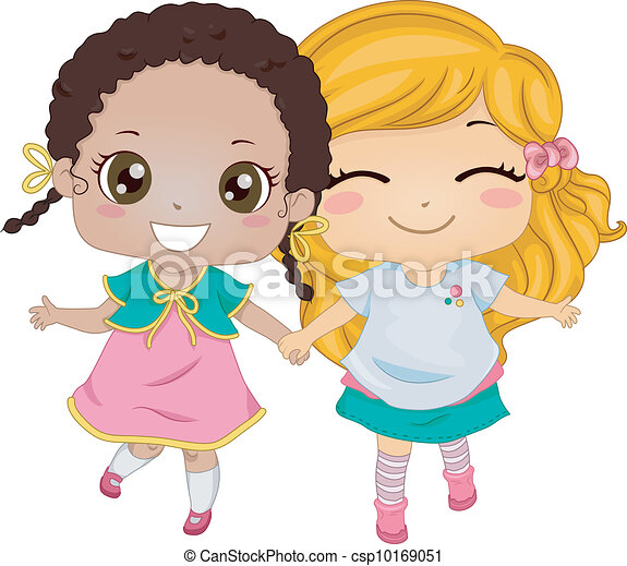 female best friends illustration featuring two girls clipart rh canstockphoto com best friend clip art images best friends clip art