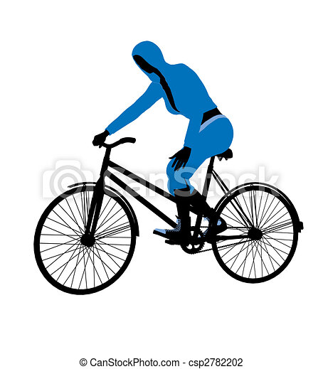 Female Bicycle Rider Illustration Silhouette - csp2782202