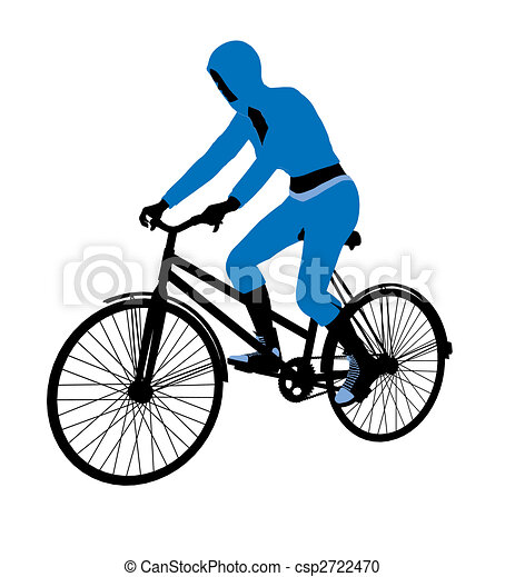 Female Bicycle Rider Illustration Silhouette - csp2722470