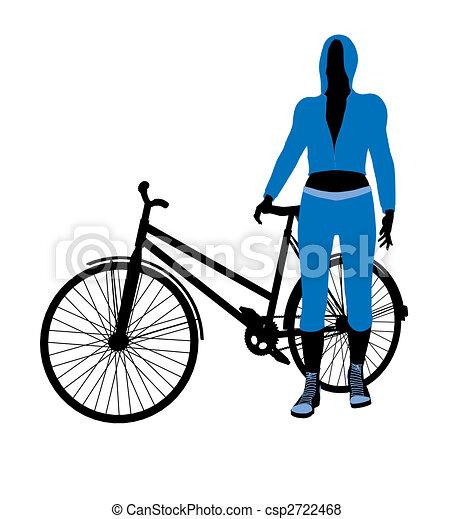 Female Bicycle Rider Illustration Silhouette - csp2722468