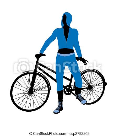 Female Bicycle Rider Illustration Silhouette - csp2782208