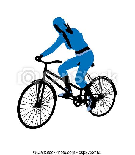 Female Bicycle Rider Illustration Silhouette - csp2722465