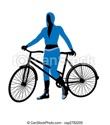 Female Bicycle Rider Illustration Silhouette - csp2782205