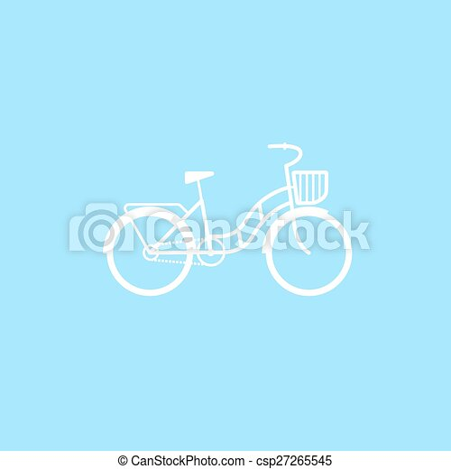 Female bicycle with a basket - csp27265545