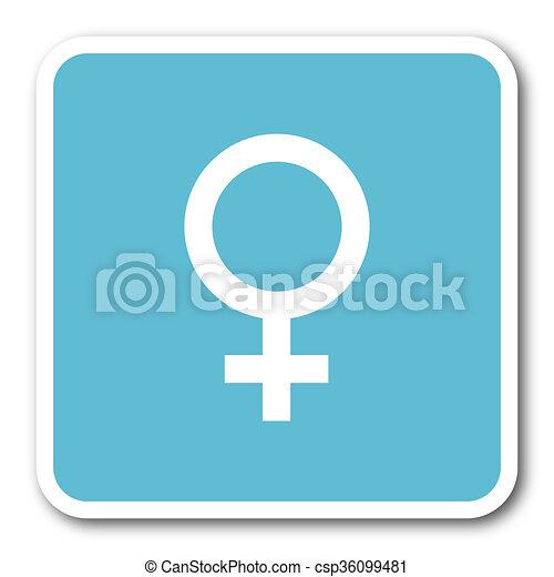female blue square internet flat design icon - csp36099481