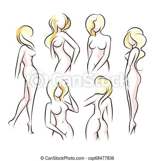 Female Body silhouettes set - csp68477836