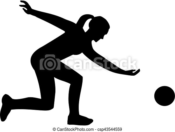female bowling player silhouette