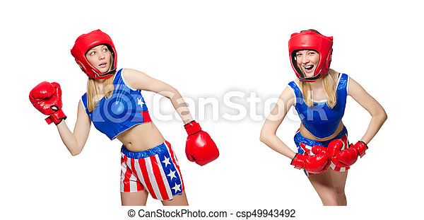 Female boxer isolated on the white background - csp49943492