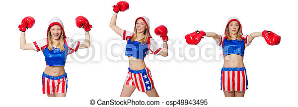 Female boxer isolated on the white background - csp49943495