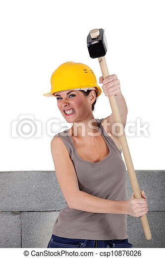 female bricklayer  holding hammer - csp10876026