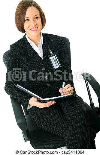 Female Businesswoman Look At Viewer And Sit On Chair - csp3411064