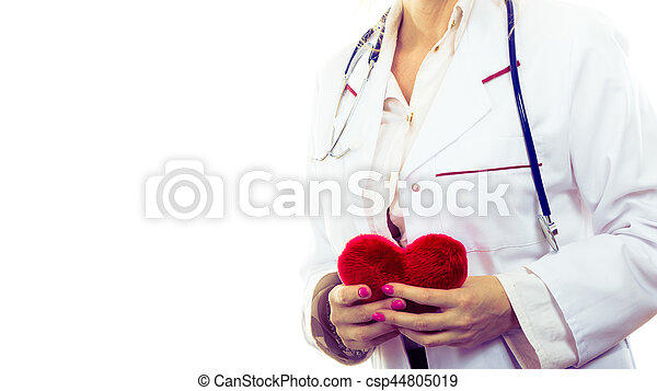 Female cardiologist with red heart. - csp44805019