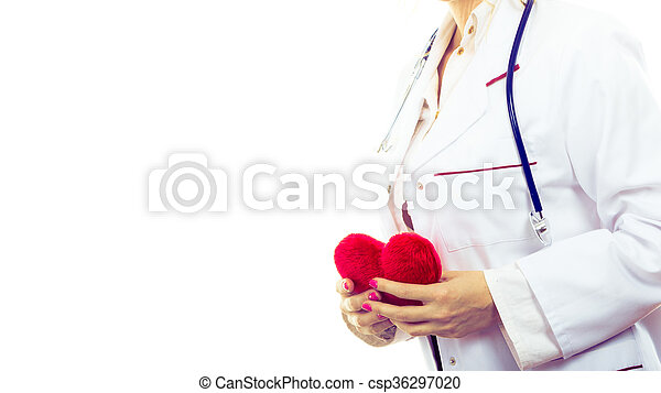 Female cardiologist with red heart. - csp36297020