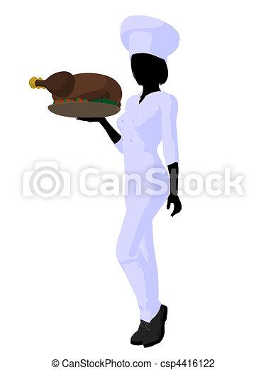 Female Chef Art Illustration Silhouette - csp4416122