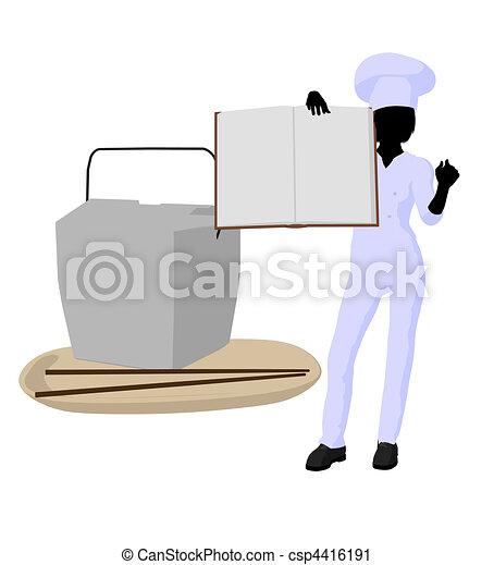 Female Chef Art Illustration Silhouette - csp4416191