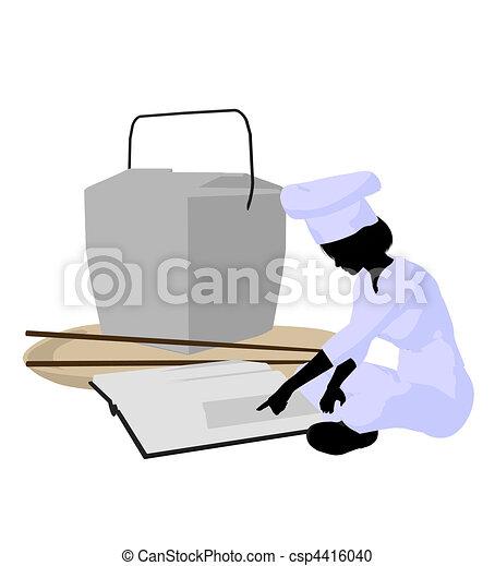 Female Chef Art Illustration Silhouette - csp4416040