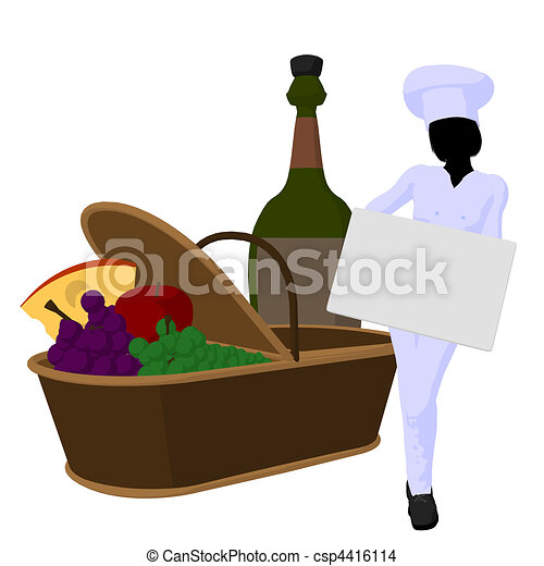 Female Chef Art Illustration Silhouette - csp4416114