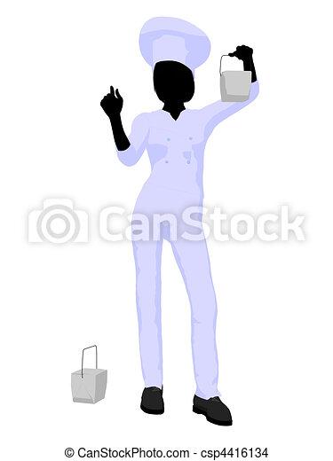 Female Chef Art Illustration Silhouette - csp4416134