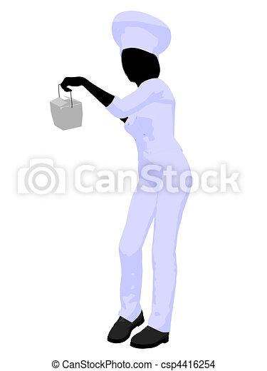 Female Chef Art Illustration Silhouette - csp4416254