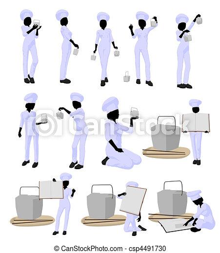 Female Chef Art Illustration Silhouette - csp4491730