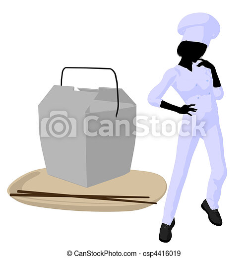 Female Chef Art Illustration Silhouette - csp4416019