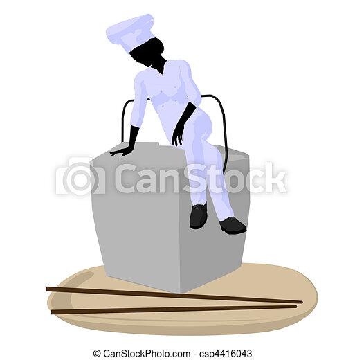 Female Chef Art Illustration Silhouette - csp4416043