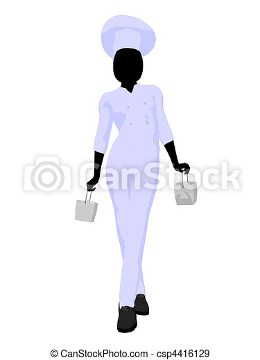 Female Chef Art Illustration Silhouette - csp4416129