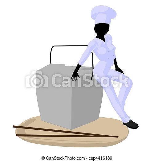 Female Chef Art Illustration Silhouette - csp4416189