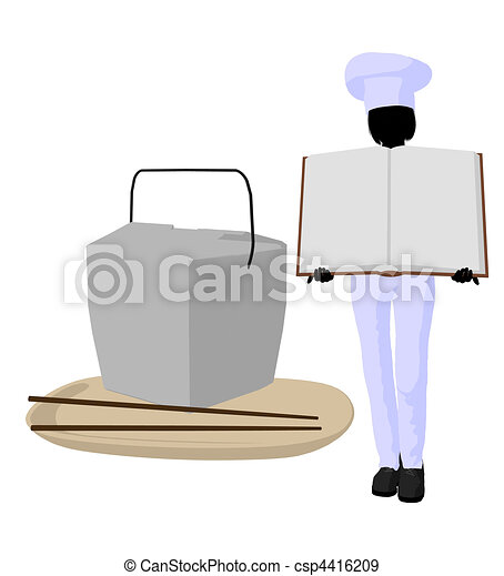 Female Chef Art Illustration Silhouette - csp4416209