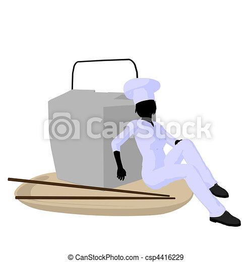 Female Chef Art Illustration Silhouette - csp4416229