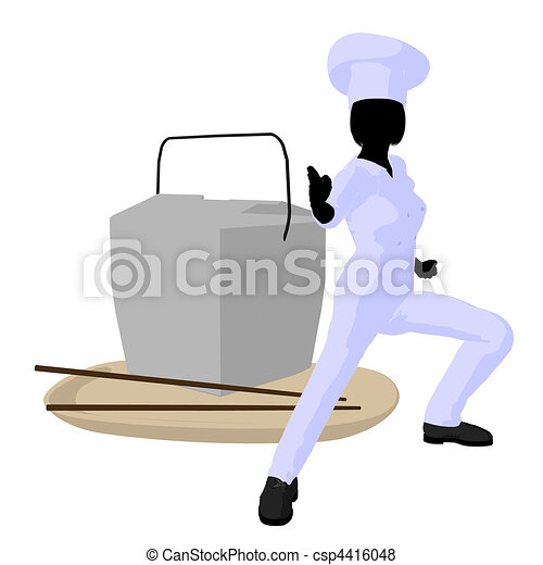 Female Chef Art Illustration Silhouette - csp4416048