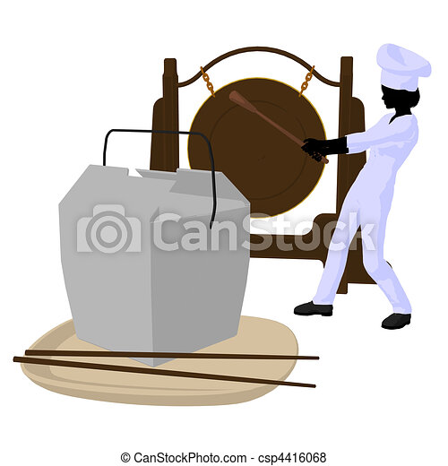Female Chef Art Illustration Silhouette - csp4416068