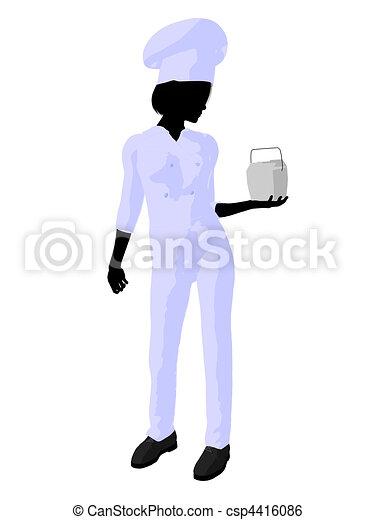 Female Chef Art Illustration Silhouette - csp4416086