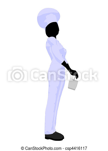Female Chef Art Illustration Silhouette - csp4416117