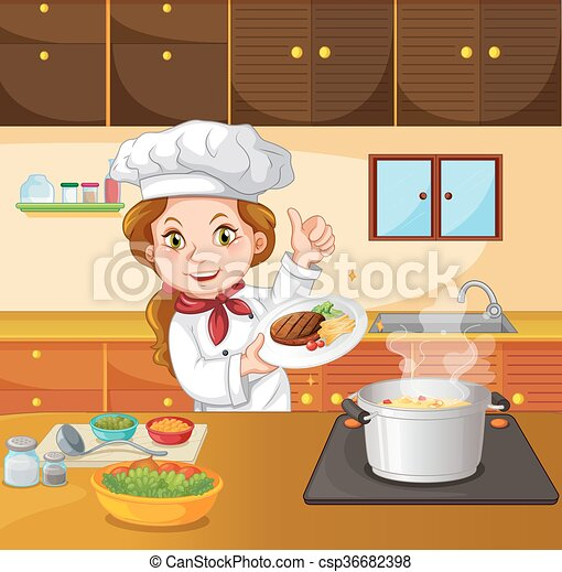 Female Chef Cooking In The Kitchen Illustration