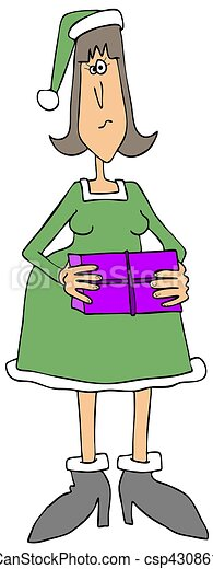 Female Christmas elf holding a package - csp43086126