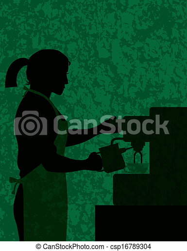 Female Coffee Barista on Textured Background Illustration - csp16789304