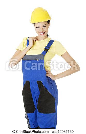 Female construction worker - csp12031150