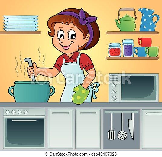 Female cook theme - csp45407026