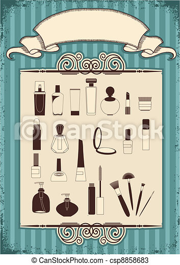 Female cosmetics on old vintage background with decor frame - csp8858683