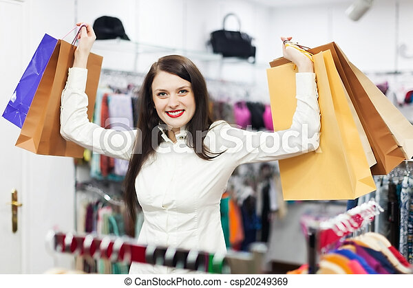 female customer at clothing store - csp20249369