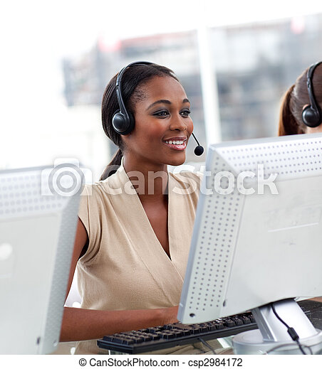Female customer service agent in a call center - csp2984172