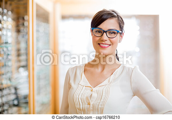 Female Customer Wearing Glasses In Store - csp16766210