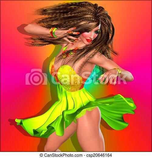 Female dancer,party girl, skirt. - csp20646164