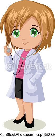 female doctor cute cartoon illustration of a doctor